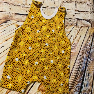 Short Leg Romper - Jungle Animals on Mustard with Black Spots